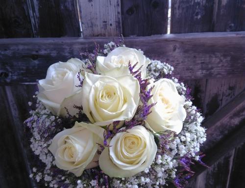 Bouquet de mariée blanc et mauve